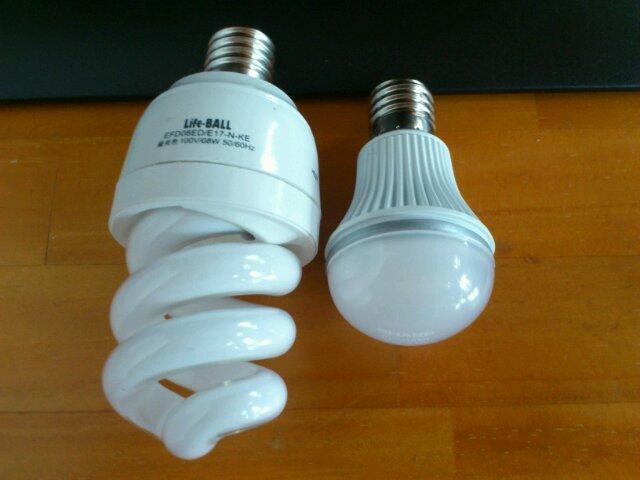 コーナン電球型蛍光灯とLED電球